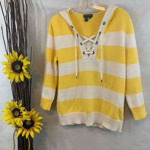 Ralph Lauren Striped Lace Up Hoodie Sweater